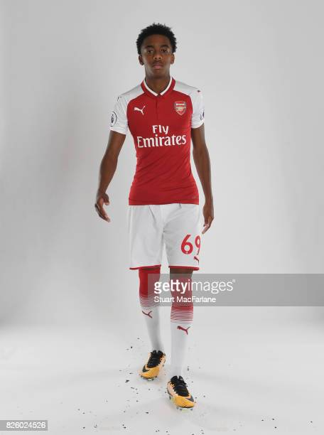 Joe Willock of Arsenal poses in a first team photocall at Emirates Stadium on August 3 2017 in London England