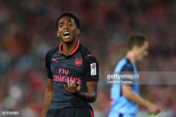 Joe Willock of Arsenal reacts after attempting a shot at goal during the match between Sydney FC and Arsenal FC at ANZ Stadium on July 13 2017 in...