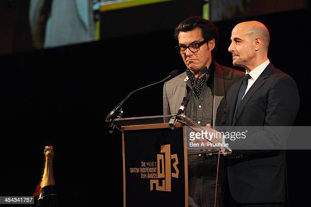 Joe Wright and actor Stanley Tucci present the Best Director award as they attend the ceremony for the Moet British Independent Film Awards at Old...