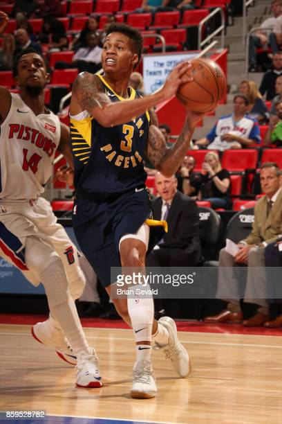 Joe Young of the Indiana Pacers handles the ball against the Detroit Pistons on October 9 2017 at Little Caesars Arena in Detroit Michigan NOTE TO...