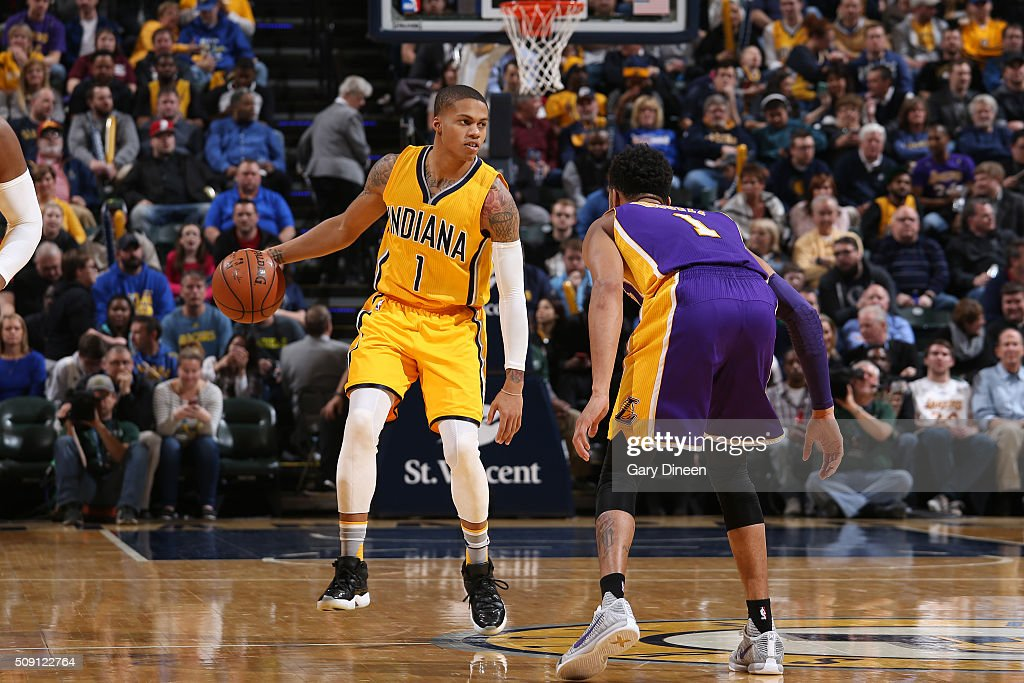 Joe Young #1 of the Indiana Pacers handles the ball against the Los Angeles Lakers on February 8, 2016 at Bankers Life Fieldhouse in Indianapolis, Indiana.