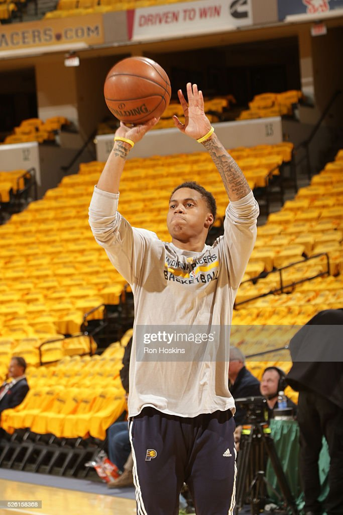 Joe Young #1 of the Indiana Pacers warms up before the game against the Toronto Raptors in Game Six of the Eastern Conference Quarterfinals during the 2016 NBA Playoffs on April 29, 2016 at Bankers Life Fieldhouse in Indianapolis, Indiana.