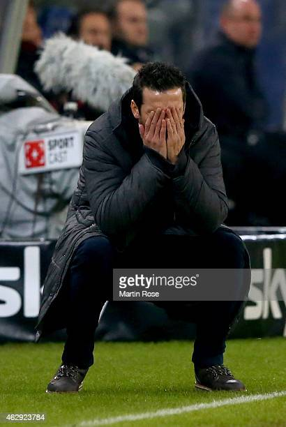 Joe Zinnbauer head coach of Hamburg reacts during the Bundesliga match between Hamburger SV and Hannover 96 at Imtech Arena on February 7 2015 in...