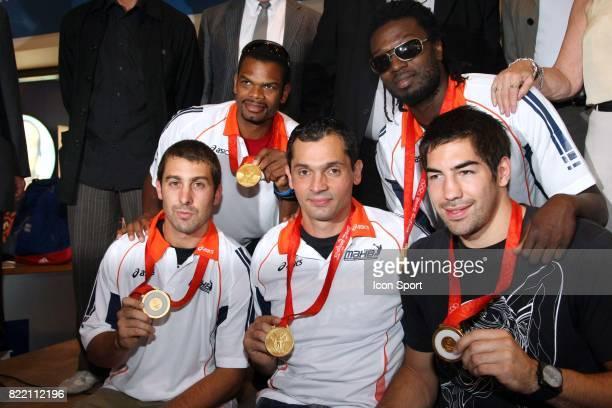 Joel ABATI / Daouda KARABOUE / Michael GUIGOU / Cedric BURDET / Nikola KARABATIC Arrivee a Montpellier des medailles d'or olympique du Montpellier...