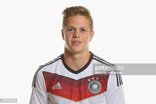 Joel Abu Hanna of the German national team poses during the team presentation of U17 Germany on September 9 2014 in Abensberg Germany