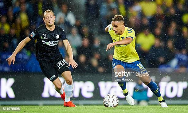 Joel Allansson of Randers FC and Hany Mukhtar of Brondby IF compete for the ball during the Danish Alka Superliga match between Brondby IF and...