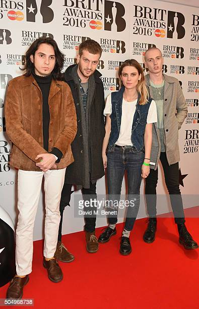 ONLY] Joel Amey Joff Oddie Ellie Rowsell and Theo Ellis of Wolf Alice attend the nominations launch for The Brit Awards 2016 at ITV Studios on...