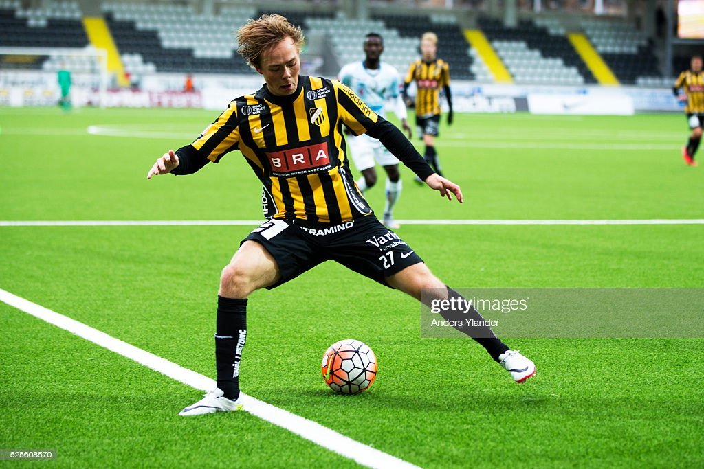Joel Andersson of BK Hacken controls the ball during the Allsvenskan match between BK Hacken and Gefle IF at Bravida Arena on April 28, 2016 in Gothenburg, Sweden.