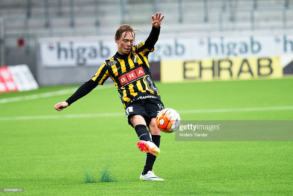 Joel Andersson of BK Hacken shoots during the Allsvenskan match between BK Hacken and Gefle IF at Bravida Arena on April 28, 2016 in Gothenburg, Sweden.