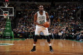 Joel Anthony of the Boston Celtics controls the ball against the Washington Wizards on April 16 2014 at the TD Garden in Boston Massachusetts NOTE TO...