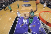 Joel Anthony of the Boston Celtics drives against the Sacramento Kings at Sleep Train Arena on February 22 2014 in Sacramento California NOTE TO USER...