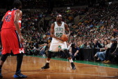 Joel Anthony of the Boston Celtics handles the ball against the Washington Wizards on April 16 2014 at the TD Garden in Boston Massachusetts NOTE TO...