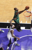 Joel Anthony of the Boston Celtics rebounds against the Sacramento Kings on February 22 2014 at Sleep Train Arena in Sacramento California NOTE TO...