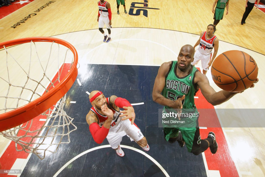 <a gi-track='captionPersonalityLinkClicked' href=/galleries/search?phrase=Joel+Anthony&family=editorial&specificpeople=4092295 ng-click='$event.stopPropagation()'>Joel Anthony</a> #50 of the Boston Celtics shoots against the Washington Wizards at the Verizon Center on April 2, 2014 in Washington, DC.