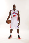 Joel Anthony of the Detroit Pistons poses during media day on September 28 2015 at The Palace of Auburn Hills in Auburn Hills Michigan NOTE TO USER...