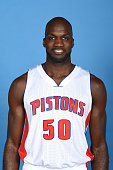 Joel Anthony of the Detroit Pistons poses for a portrait during media day on September 28 2015 at The Palace of Auburn Hills in Auburn Hills Michigan...