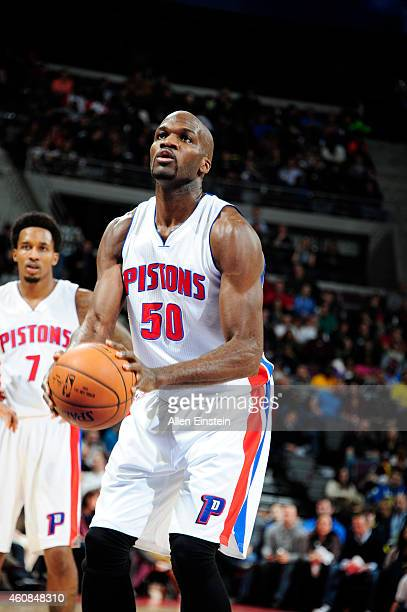 Joel Anthony of the Detroit Pistons prepares to shoot against the Indiana Pacers during the game on December 26 2014 at The Palace of Auburn Hills in...