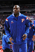 Joel Anthony of the Detroit Pistons runs out before the game against the Houston Rockets on January 31 2015 at The Palace of Auburn Hills in Auburn...