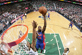 Joel Anthony of the Detroit Pistons shoots the ball against the Utah Jazz on March 14 2015 at EnergySolutions Arena in Salt Lake City Utah NOTE TO...