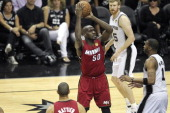 Joel Anthony of the Miami Heat aims during Game Three of the 2013 NBA Finals between the Miami Heat and the San Antonio Spurs on June 11 2013 at ATT...