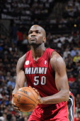 Joel Anthony of the Miami Heat aims for a free throw during the game between the Miami Heat and the San Antonio Spurs on March 31 2013 at the ATT...