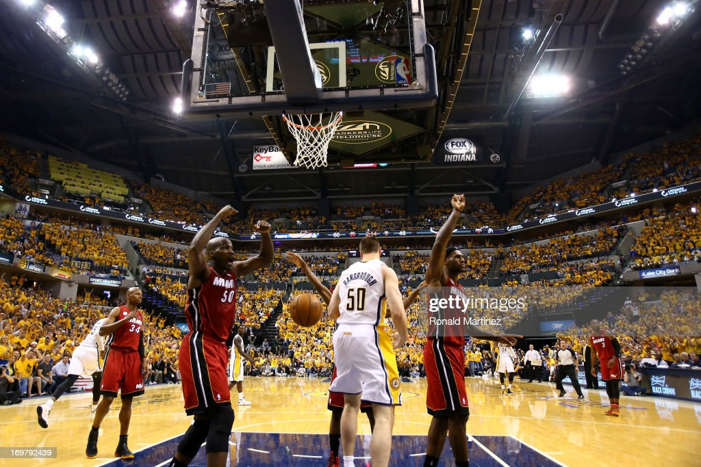 <a gi-track='captionPersonalityLinkClicked' href=/galleries/search?phrase=Joel+Anthony&family=editorial&specificpeople=4092295 ng-click='$event.stopPropagation()'>Joel Anthony</a> #50 of the Miami Heat and <a gi-track='captionPersonalityLinkClicked' href=/galleries/search?phrase=LeBron+James&family=editorial&specificpeople=201474 ng-click='$event.stopPropagation()'>LeBron James</a> #6 react after a play at the basket against Tyler Hansbrough #50 of the Indiana Pacers in Game Six of the Eastern Conference Finals during the 2013 NBA Playoffs at Bankers Life Fieldhouse on June 1, 2013 in Indianapolis, Indiana.