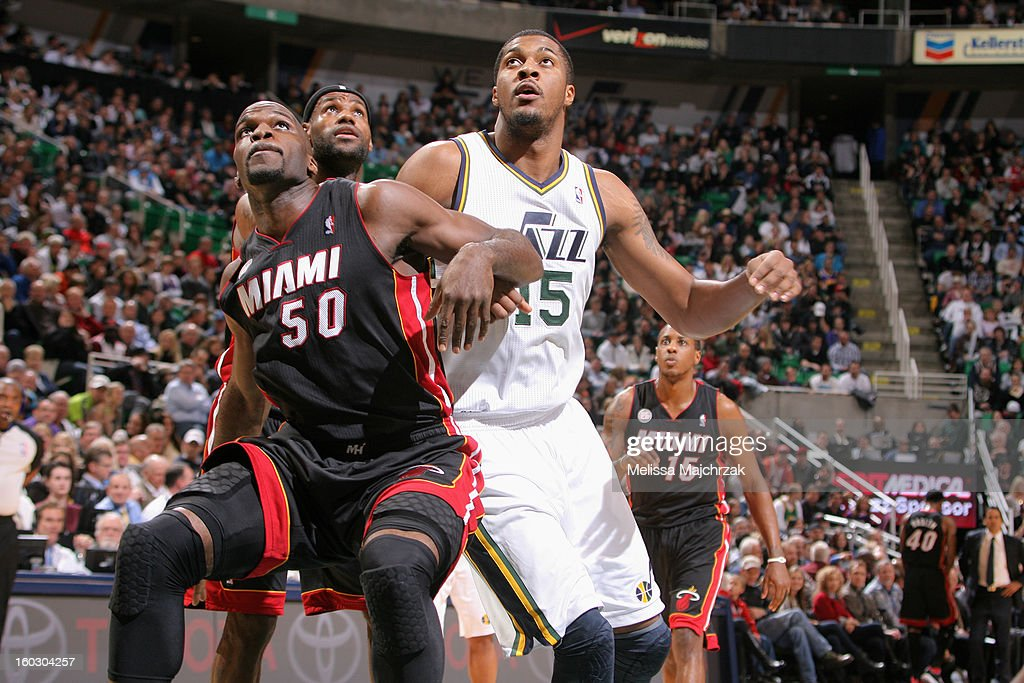 Joel Anthony #50 of the Miami Heat battles for positioning against Derrick Favors #15 of the Utah Jazz at Energy Solutions Arena on January 14, 2013 in Salt Lake City, Utah.