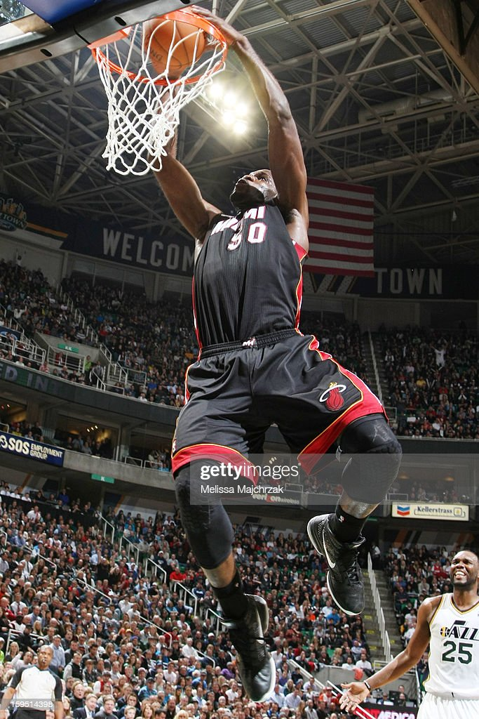 Joel Anthony #50 of the Miami Heat dunks against the Utah Jazz at Energy Solutions Arena on January 14, 2013 in Salt Lake City, Utah.