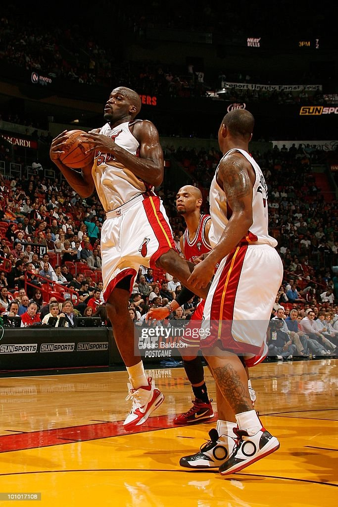 Joel Anthony #50 of the Miami Heat grabs a rebound against the Chicago Bulls during the game on March 12, 2010 at American Airlines Arena in Miami, Florida. The Heat won 108-95.