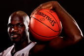Joel Anthony of the Miami Heat poses during media day at the American Airlines Arena on September 28 2012 in Miami Florida