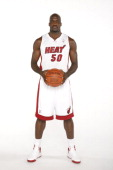 Joel Anthony of the Miami Heat poses for a portrait as the Miami Heat host the 2012 Miami Heat Media Day on September 28 2012 at American Airlines...