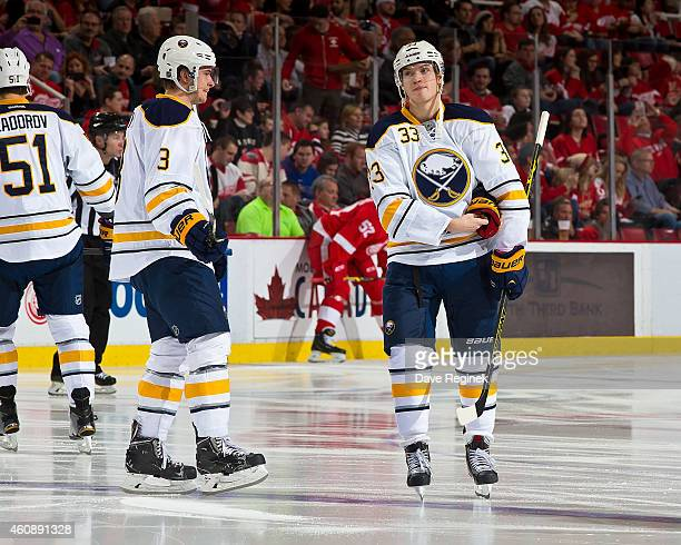 Joel Armia of the Buffalo Sabres skates around before for his first NHL game against the Detroit Red Wings on December 23 2014 at Joe Louis Arena in...
