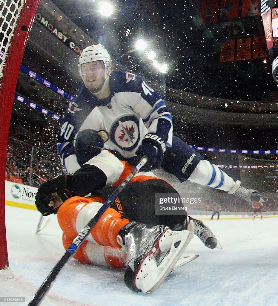 Joel Armia #40 of the Winnipeg Jets skates against the Philadelphia Flyers at the Wells Fargo Center on March 28, 2016 in Philadelphia, Pennsylvania.