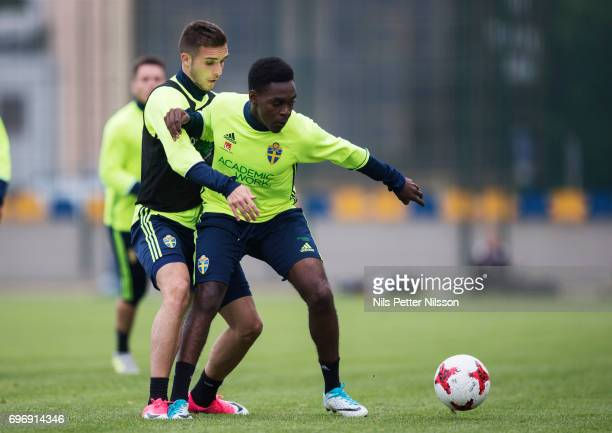 Joel Asoro and Egzon Binaku during the Swedish U21 national team training at Stadion Miejski on June 17 2017 in Swidnik Poland