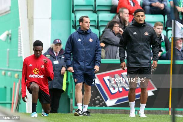 Joel Asoro and Tyias Browning of Sunderland warm up during a preseason friendly between Hibernian FC and Sunderland AFC at Easter Road on July 9 2017...