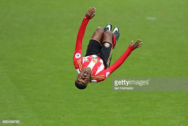 Joel Asoro of Sunderland celebrates scoring the second goal during the Premier League International Cup match on December 23 2016 in Sunderland...
