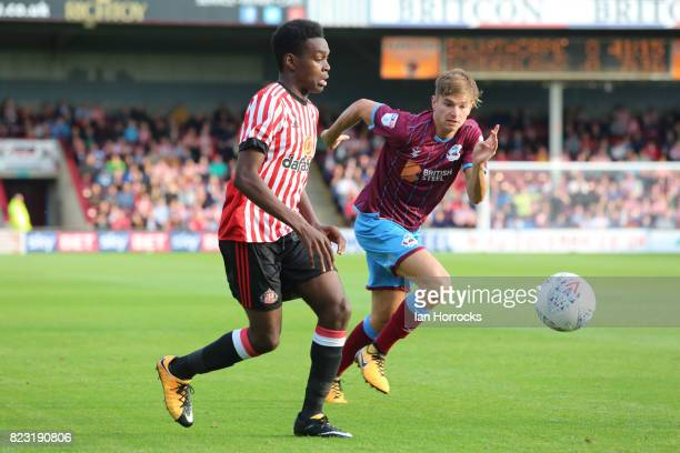 Joel Asoro of Sunderland during a preseason friendly match between Scunthorpe United and Sunderland AFC at Glanford Park on July 26 2017 in...