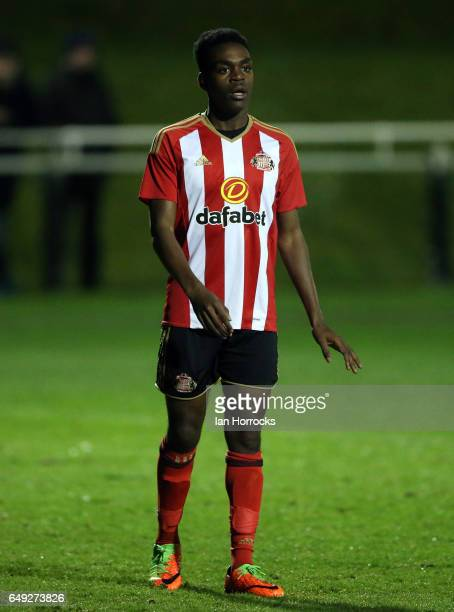Joel Asoro of Sunderland during the Premier League 2 match between Sunderland U23 and Manchester United U23 at the Hetton Centre on March 6 2017 in...