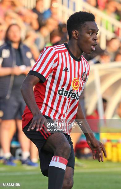 Joel Asoro of Sunderland during the preseason friendly match between Sunderland and Hartlepool at Victoria Park on July 18 2017 in Hartlepool England