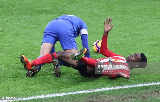 Joel Asoro of Sunderland is upended during the Premier League International Cup Quarter Final match between Sunderland U23 and Athletic Bilbao U23 at...