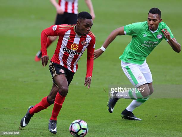 Joel Asoro of Sunderland tries to beat Zurich Carolina of PSV during the Premier League International Cup match on December 23 2016 in Sunderland...
