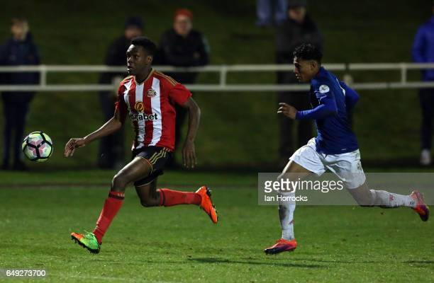 Joel Asoro of Sunderland tries to break through the United defence during the Premier League 2 match between Sunderland U23 and Manchester United U23...