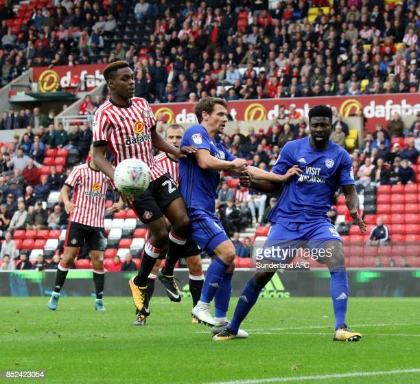 Joel Asoro of Sunderland tries to breaking the Cardiff box during the Sky Bet Championship match between Sunderland and Cardiff City at Stadium of...