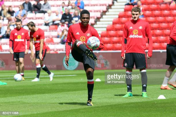 Joel Asoro of Sunderland warms up before a preseason friendly match between Sunderland AFC and Celtic at the Stadium of Light on July 29 2017 in...