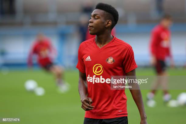 Joel Asoro of Sunderland warms up during the Carabao Cup 2nd round match between Carlisle United and Sunderland at Brunton Park on August 22 2017 in...