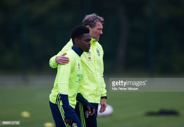 Joel Asoro of Sweden and Hakan Ericsson head coach of Sweden during the Swedish U21 national team training at Stadion Miejski on June 17 2017 in...