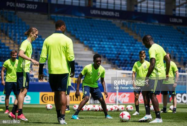 Joel Asoro of Sweden during the Swedish U21 national team MD1 training at Arena Lublin on June 18 2017 in Lublin Poland