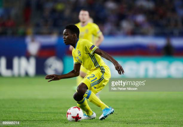 Joel Asoro of Sweden during the UEFA European Under21 match between Slovakia and Sweden at Arena Lublin on June 22 2017 in Lublin Poland