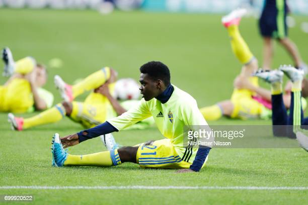 Joel Asoro of Sweden stretching ahead of the UEFA European Under21 match between Slovakia and Sweden at Arena Lublin on June 22 2017 in Lublin Poland