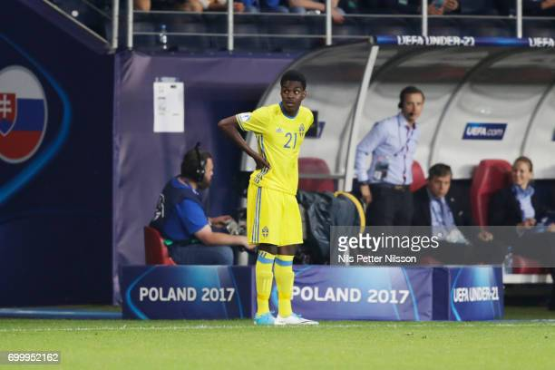 Joel Asoro of Sweden waits for being changed in during the UEFA European Under21 match between Slovakia and Sweden at Arena Lublin on June 22 2017 in...